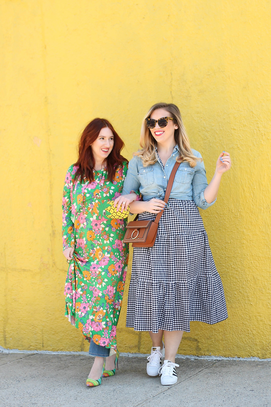 Fun Blogger Approved Spring Layered Outfits New York City Fashion Bloggers Floral Dress Gingham Dress Yellow Wall