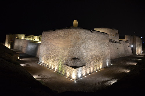 Qalaah Bahrain Fort at night