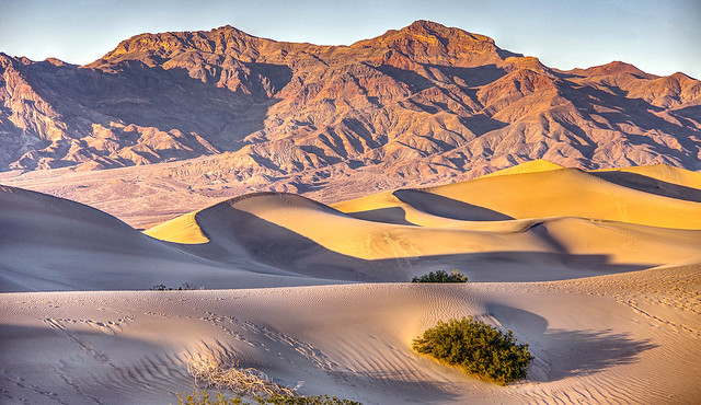 Death Valley Mesquite Dunes and mountains at sunset