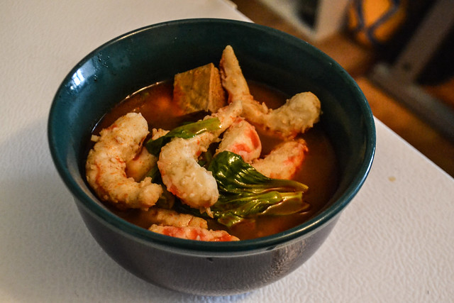 Spicy Tofu Soup with Baby Bok Choy and Veggie-Shrimp (Vegan)