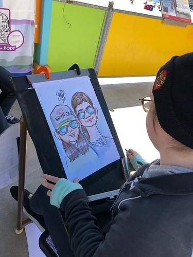 Nick & Sequoia's caricature underway