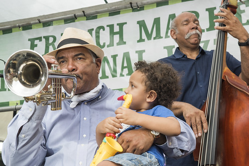 A new sax player joins Wendell Brunious and Richard Moten at French Quarter Fest day 2 on April 13, 2018. Photo by Ryan Hodgson-Rigsbee RHRphoto.com