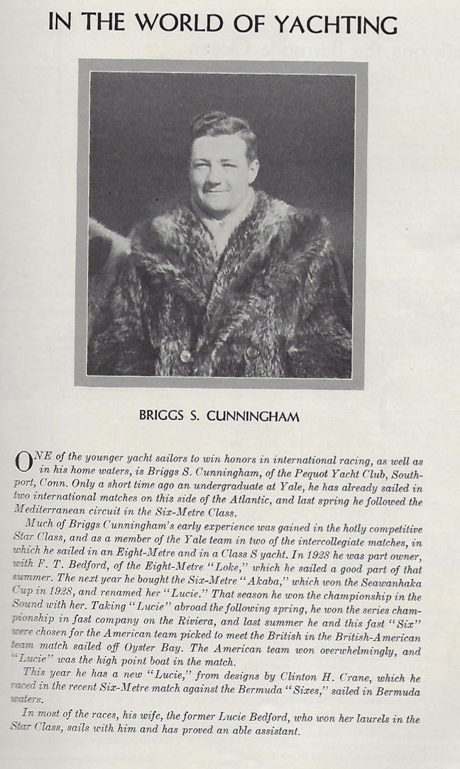 Briggs Cunningham featured in the May 1931 issue of Yachting magazine.