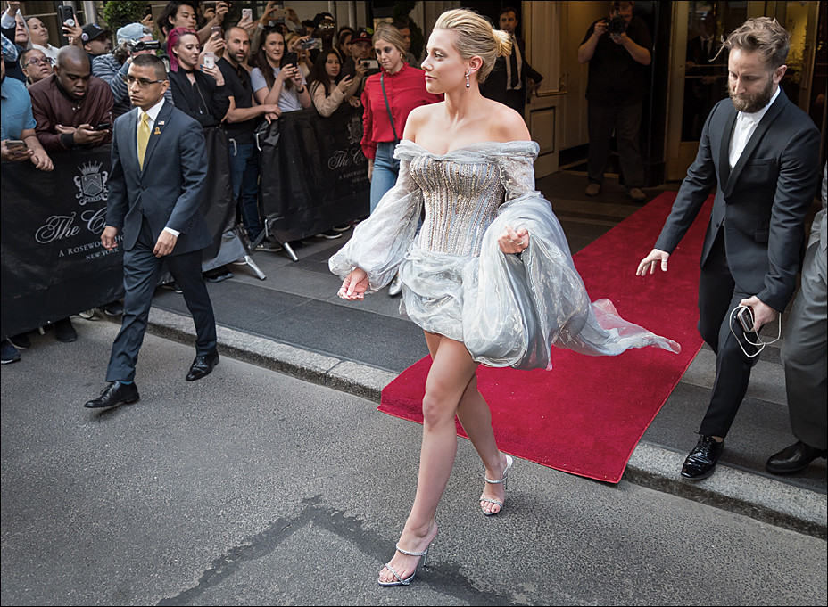 Lili Reinhart leaving The Carlyle for the Met Gala 2018