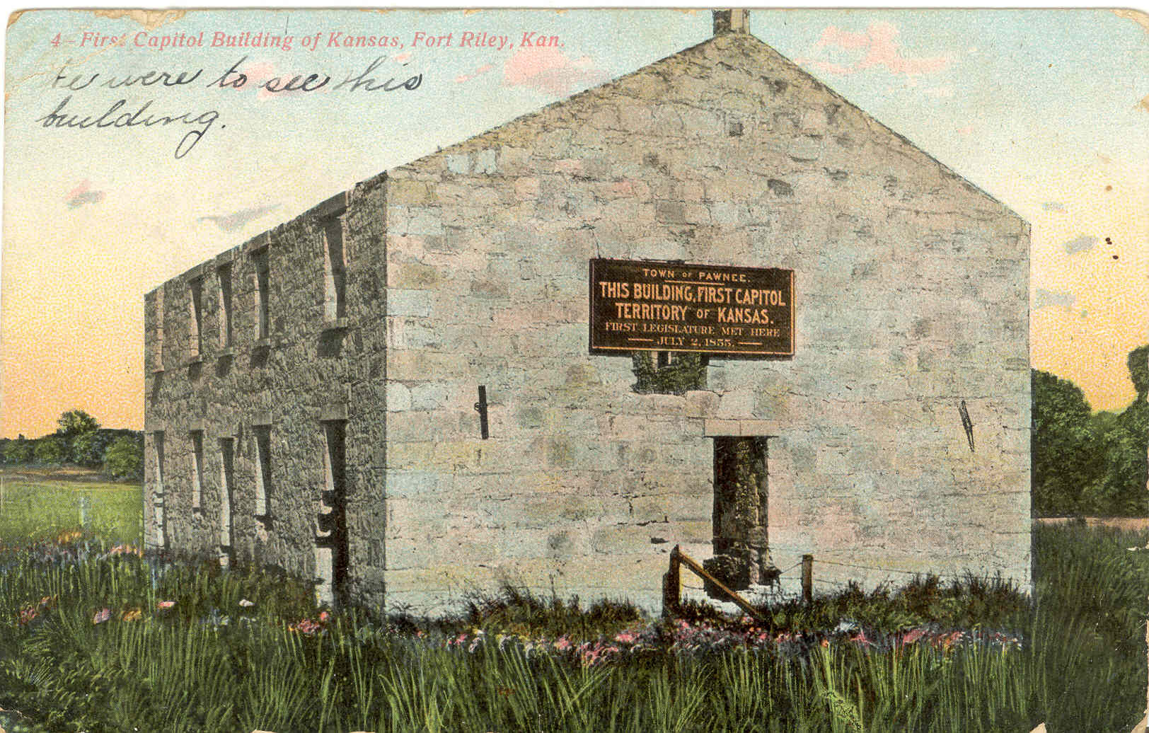 Postcard showing the first Territorial Capitol Building of Kansas at Pawnee.
