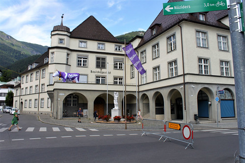 town hall with flags from Milka