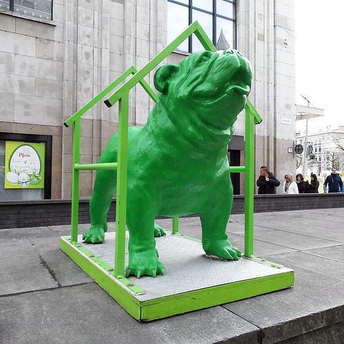 random dog statue