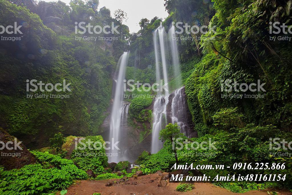 Tranh thác nước đẹp treo tường rừng cây xanh tốt