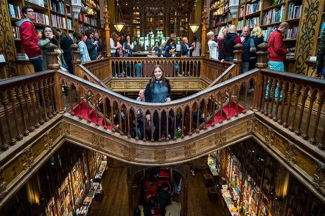 Deya at Livraria Lello Bookshop Porto