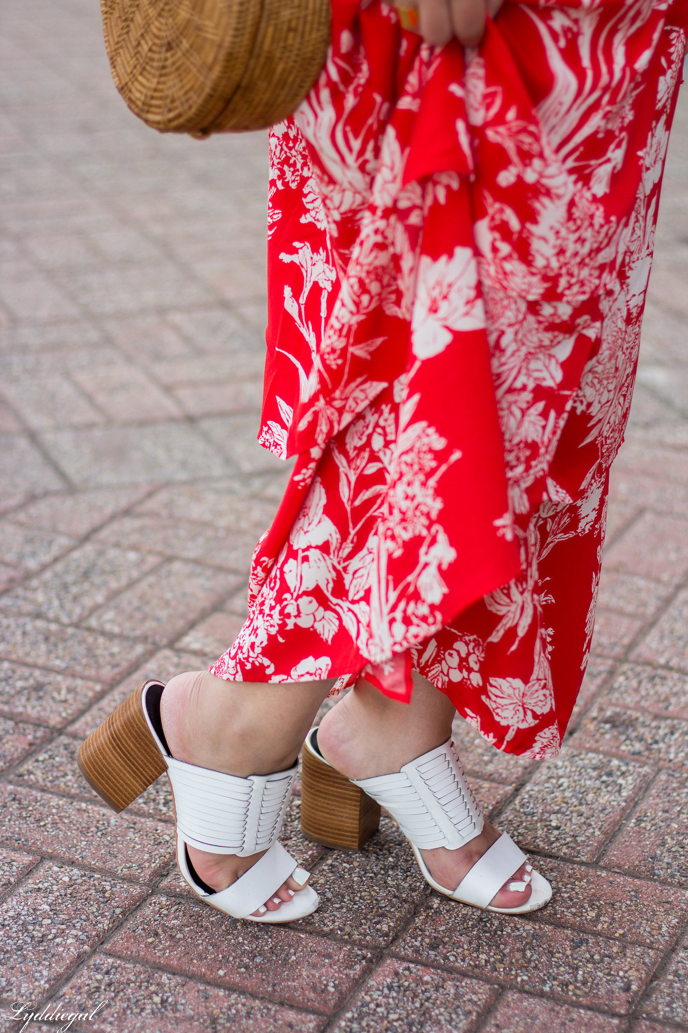 red and white printed wrap dress, round rattan bag, white mules-14.jpg