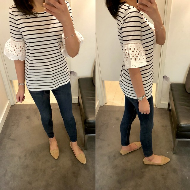 Ann Taylor Stripe Eyelet Flare Sleeve Top, size XS regular
