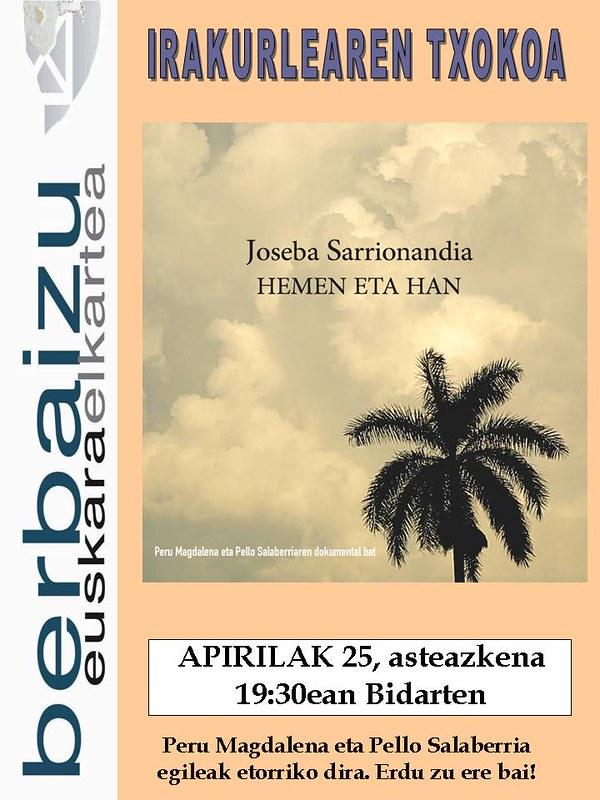 Apirilaren 25ean 'Joseba Sarrionadia hemen eta han' dokumentala Irakurleen Txokoan