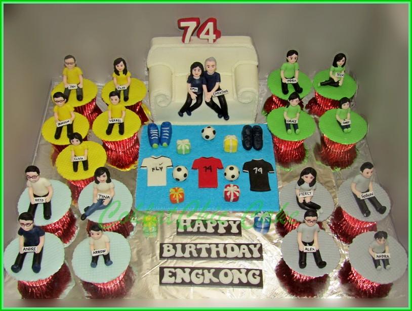 Cake dan Cupcake set Family Untuk Engkong - cake 15 cm