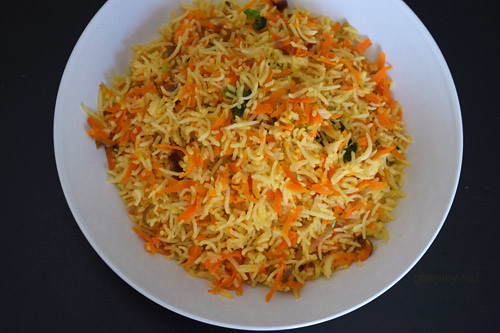 Carrot Rice/Carrot Sadham Recipe by GoSpicy.net