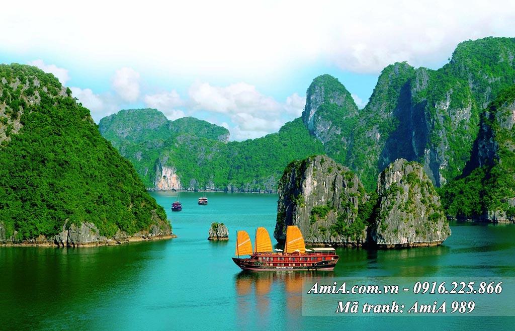 AmiA 989 - Tranh phong cảnh quê hương Vịnh Hạ Long một tấm
