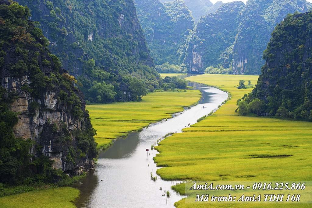 AmiA 168 - Tranh khổ lớn phong cảnh đẹp quê hương Việt Nam Tràng An
