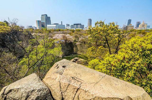 Osaka skyline from castle
