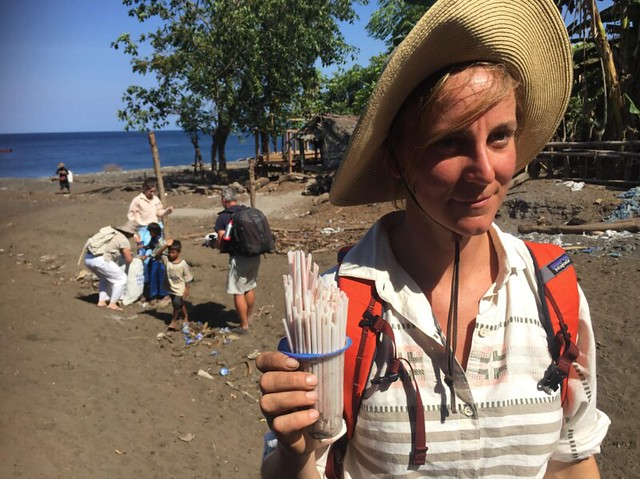 photo of woman with plastic pollution