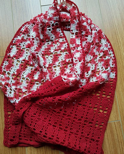 Jodie (AJMatte)'s shawl she crocheted in  yarns she purchased in honour of Canada Day 150 last year!