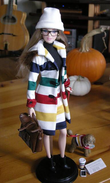 Hudson's Bay Barbie in stripes