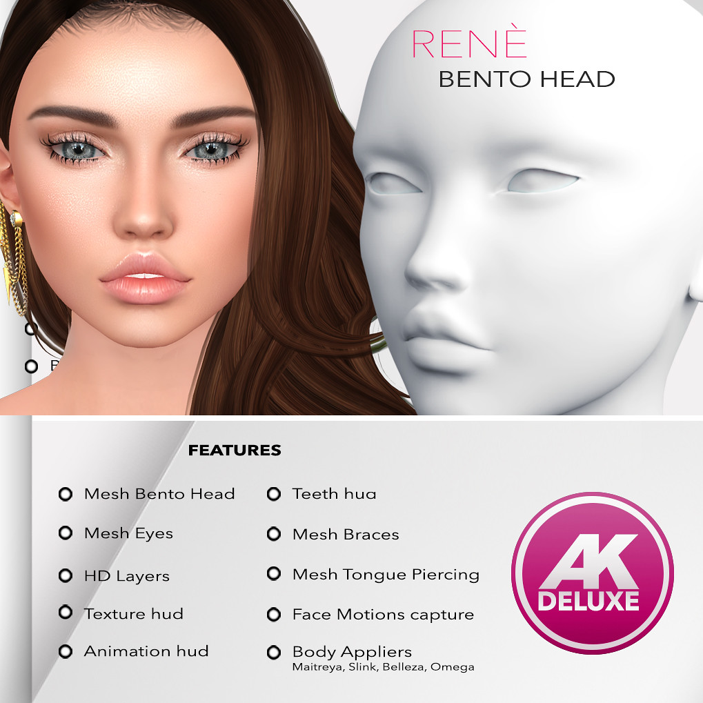 [AK] Renè Deluxe Bento Mesh Head - TeleportHub.com Live!