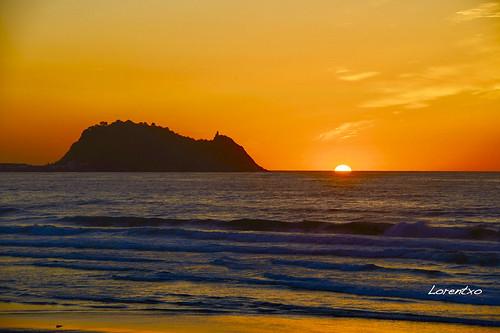 Precioso anochecer la de ayer vista desde  la playa de Zarautz