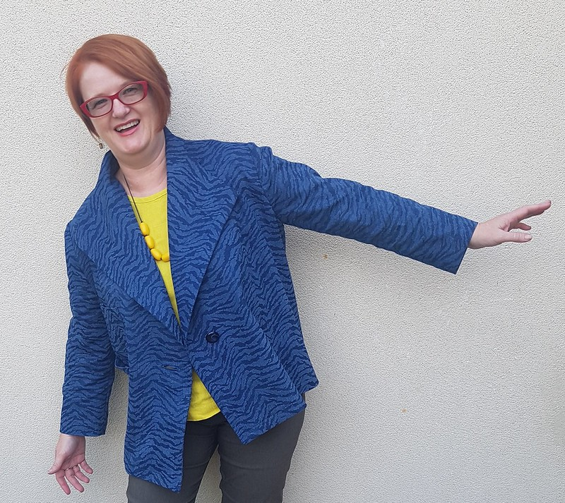 Simplicity 8058 jacket in stretch denim from Darn Cheap Fabrics