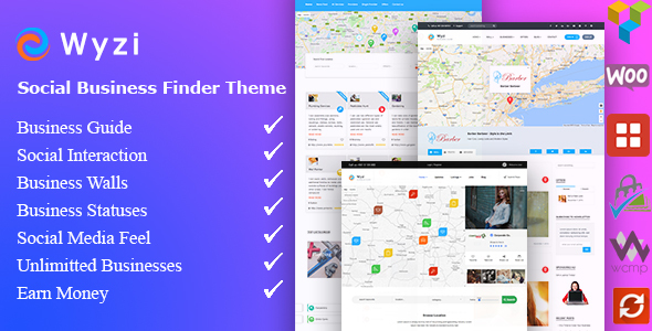 Wyzi v2.2.1 - Business Finder and Service Provider Booking WordPress Social Look Directory Listing Theme