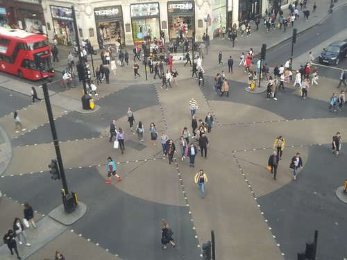 Oxford Circus pedestrian crossing, Oxford Street and Regent Street, Westminster, London