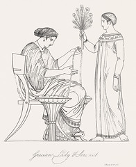 Grecian lady and servant from An illustration of the Egyptian, Grecian and Roman costumes by Thomas Baxter (1782-1821).Digitally enhanced by rawpixel.