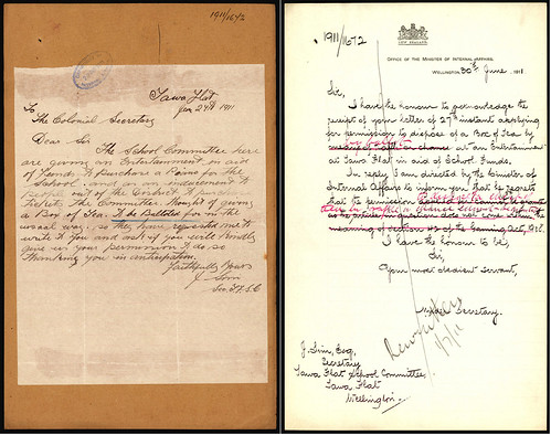 <p>On June 27 1911 Tawa Flat School in the Wellington region sent in a request to the Department of Internal Affairs asking for permission to raffle a box of tea to raise funds for a new piano. The reply from the Department of Internal Affairs wasn't what they wished for as the request was declined. Raffling a box of tea did not meet the requirements of the Gaming Act of 1908. <br /> <br /> This piece of correspondence is from the Department of Internal Affairs. The annual single number files sequence from the Department is being digitised by Archives New Zealand, starting with the most recent material. Correspondence from 1913 down to 1911 is now available online via Archway in series 8333.<br /> <br /> Archives New Zealand Reference: ACGO 8333 IA1 1158 1911/1672<br /> <br /> For further enquiries email research.archives@dia.govt.nz <br /> <br /> Material from Archives New Zealand Te Rua Mahara o te Kāwanatanga</p>