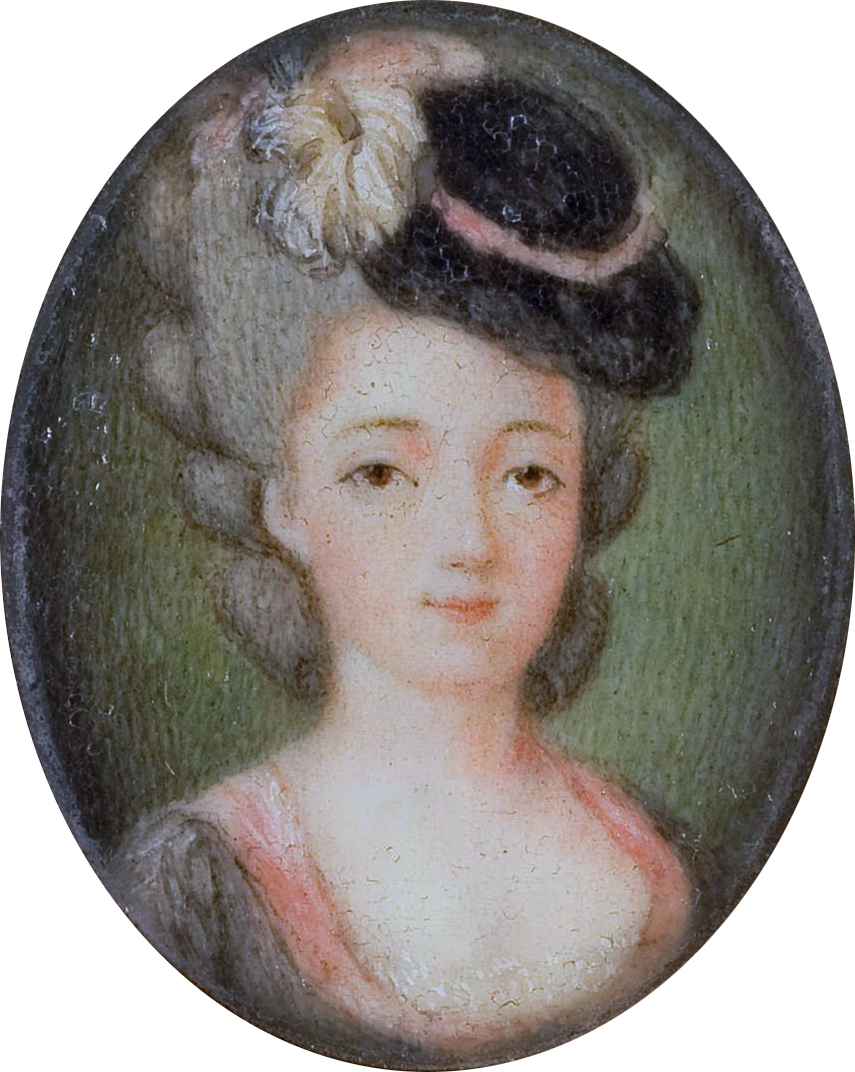 Portrait of Marie Adrienne Francoise de Noailles, Marquise de La Fayette (1759-1807). Gray dress acented with pink, a wig adorned with a black velvet hat dressed with white feathers and a pink ribbon, a green background, at the reverse label 'Marquise/de/la Fayette/née Noailles'.