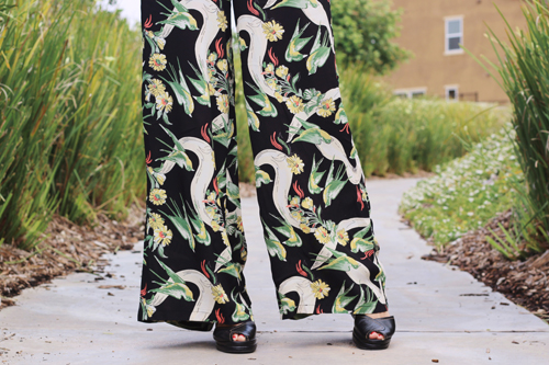 Loco Lindo Black Swallow Print High Waist Wide Leg Pants