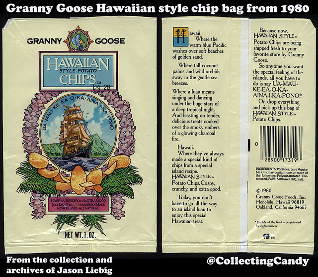 Granny Goose - Hawaiian Style Potato Chips - 1 oz snack bag package - 1980