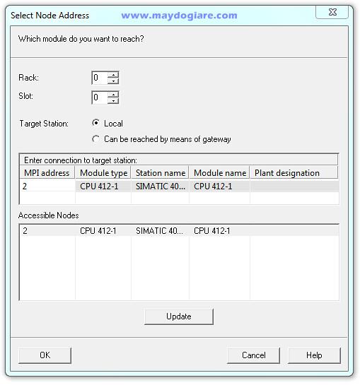 Chọn địa chỉ Module CPU của PLC [0|0]
