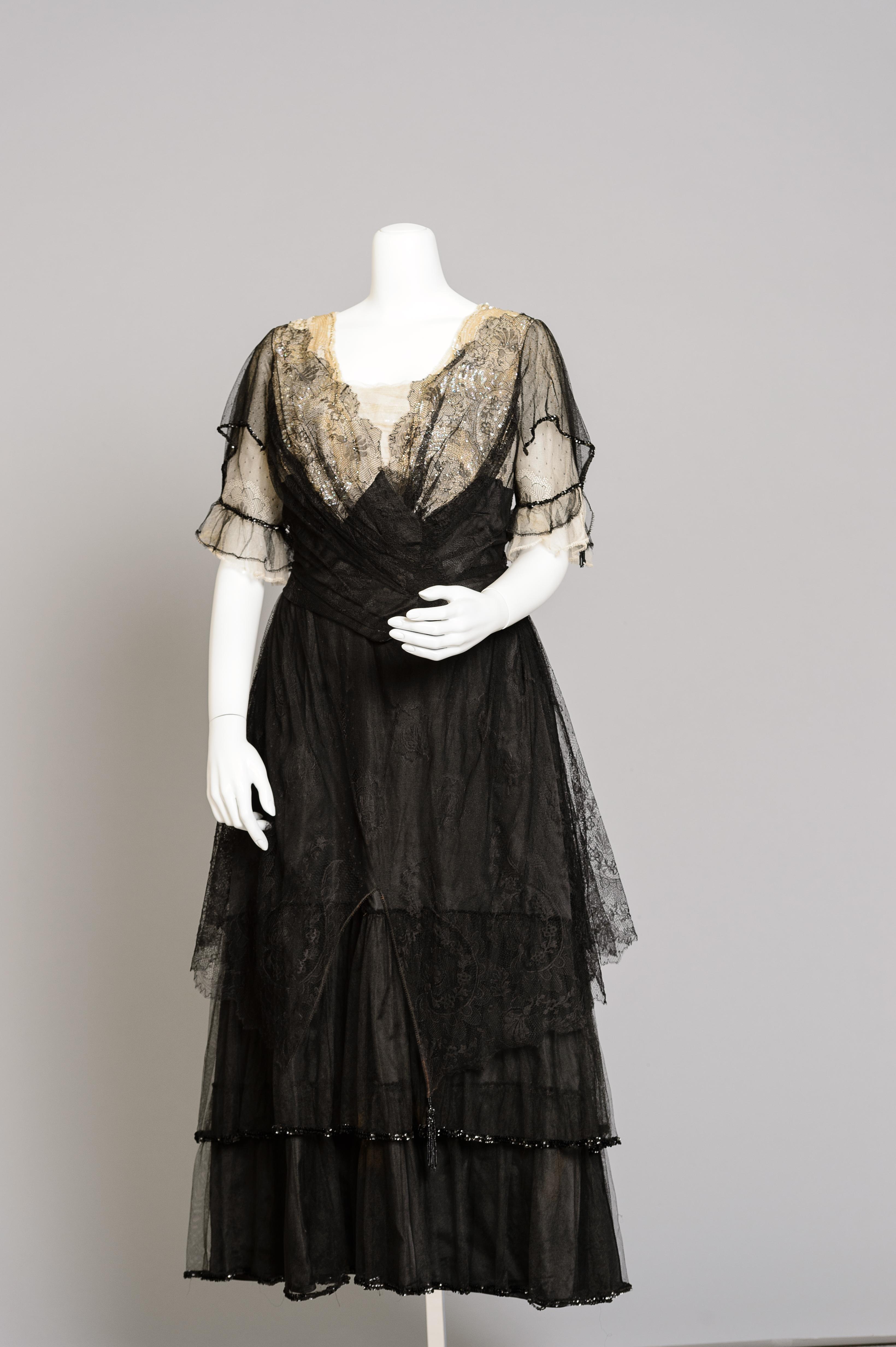 Fashion and Satire: Silk Lace and Chiffon Evening Dress