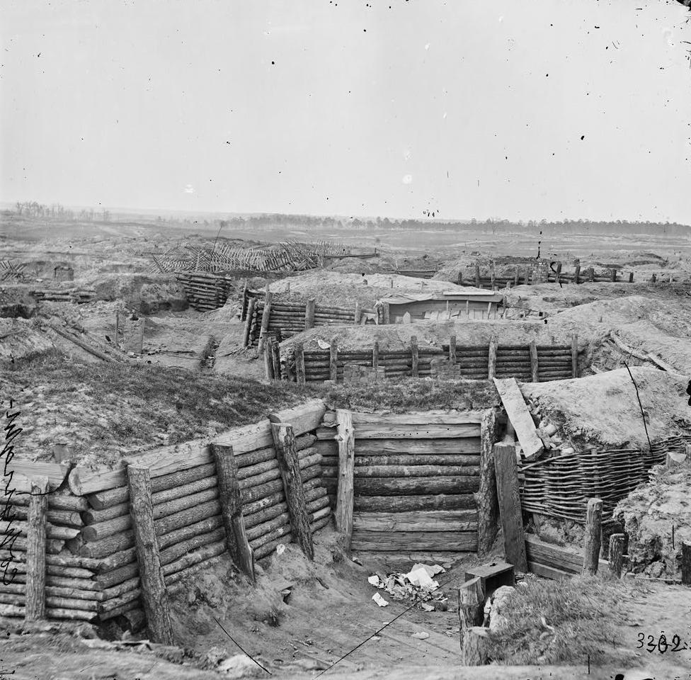 Confederate defenses of Fort Mahone aka Battery 29 at Petersburg, Virginia, 1865.