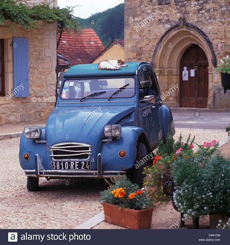 cat-asleep-on-the-roof-of-a-citroen-2cv-in-a-sleepy-dordogne-village