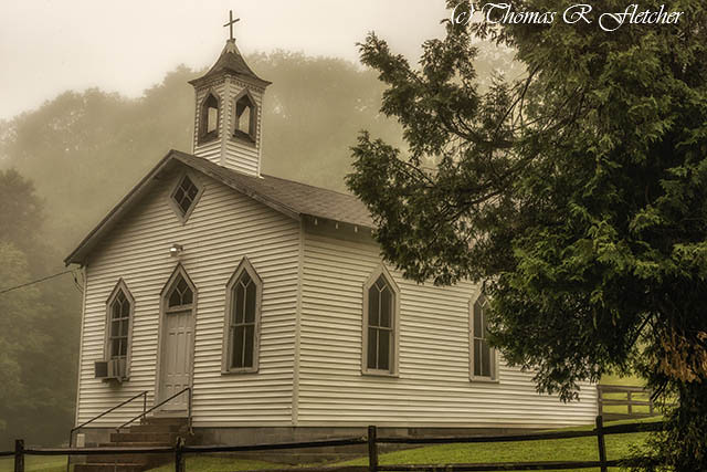 Country Church in Mist