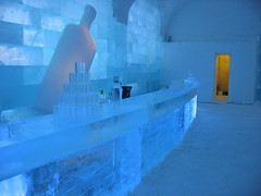 building, ice hotel, ice, blue,
