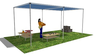 Diy shade structure in sketchup flickr photo sharing for Pvc pipe shade