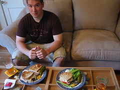 Brian waiting patiently to eat his Turkey Reuben