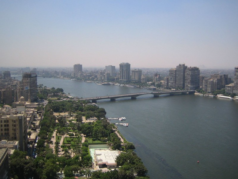 Looking southwest from the 32nd floor of the Grand Hyatt Hotel, Cairo