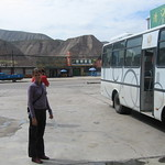 Jo and the bus leaving lunch in Lanzhou