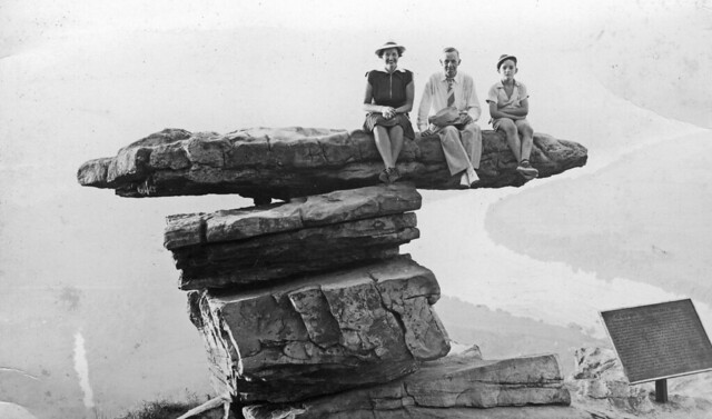 """Nanny, Pop, and Dad on """"Umbrella Rock,"""" Lookout Mountain, TN, about 1938"""