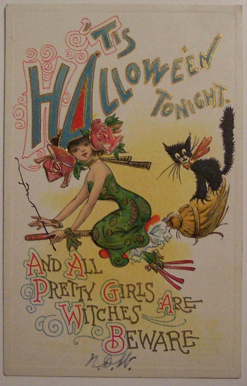 Vintage Halloween Postcard By Artist Dwig