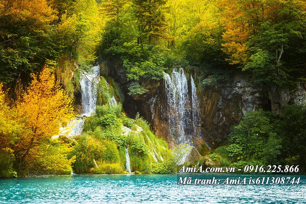 Tranh phong thủy thác nước thiên nhiên đẹp