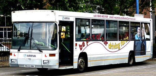 M422 UNW 'Arriva Midlands' No. 9525 'Driver Trainer'. Volvo B10B / Alexander ALX 300 on 'Dennis Basford's railsroadsrunways.blogspot.co.uk'