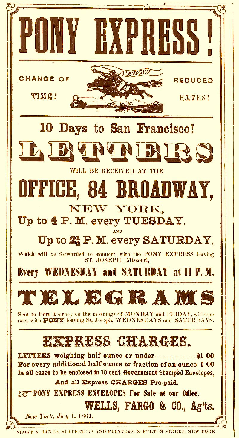 Poster from the Pony Express, advertising fast mail delivery to San Francisco.