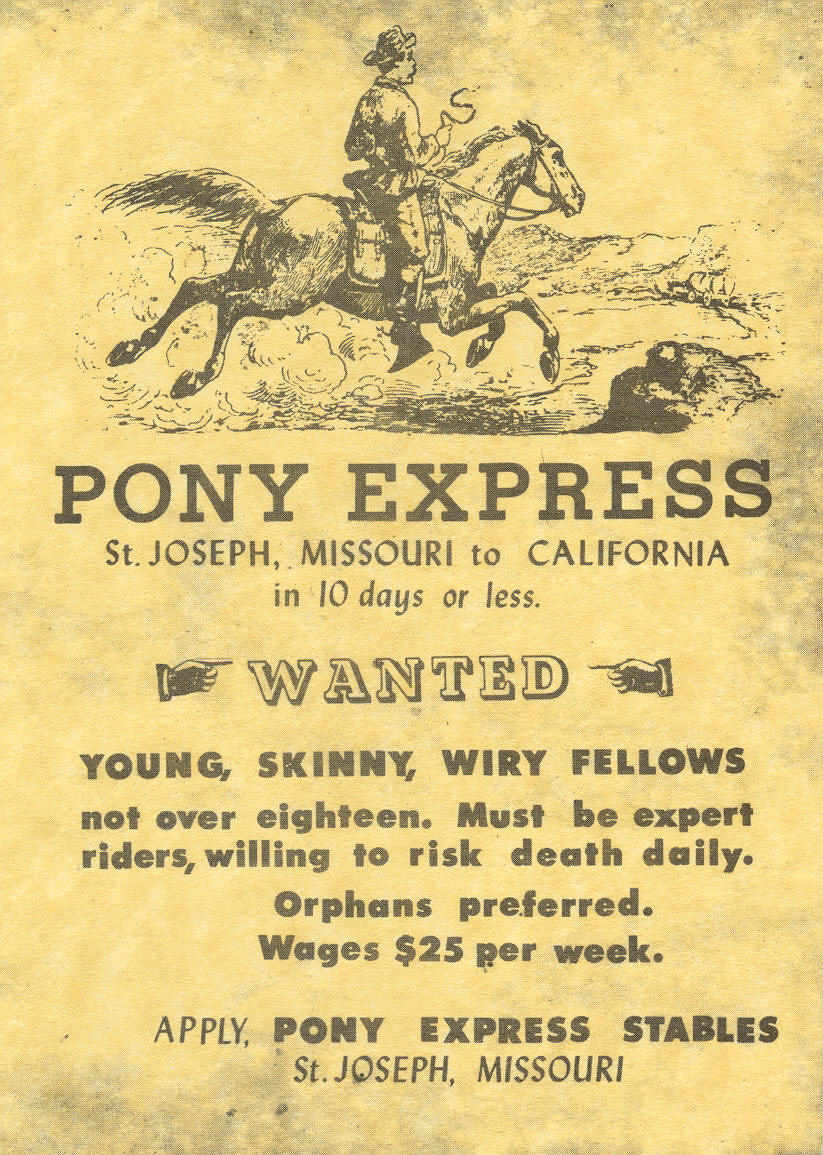 Advertisement seeking riders for the Pony Express service.